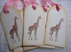 Vintage Inspired Giraffe in Party Hat & by IndelibleImpressions.....baby shower inspiration