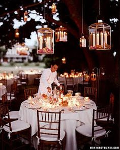 Gorgeous outdoor wedding reception, hanging lanterns with candles! Would probably consider pillar candles for durability. Wedding Themes, Wedding Events, Wedding Reception, Our Wedding, Dream Wedding, Wedding Backdrops, Wedding Spot, Wedding Scene, Space Wedding