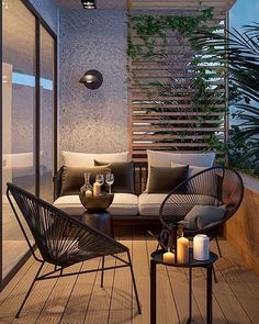 Attractive balcony with parquet hardwood and modern garden furniture. - balcony garden 100 - Attractive balcony with parquet hardwood and modern garden furniture. Apartment Balcony Decorating, Apartment Balconies, Interior Balcony, Apartments, Apartment Plants, Small Balcony Decor, Balcony Ideas, Modern Balcony, Modern Patio