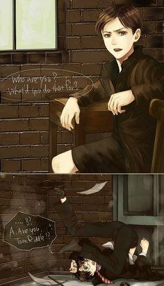 Read Tom & Harry from the story image/meme Harry Potter 2 by JadeKraak (Jadisse) with 563 reads. Harry Potter 2, Harry Potter Comics, Fanart Harry Potter, Harry Potter Universal, Hogwarts, Slytherin, Gellert Grindelwald, Wattpad, Voldemort