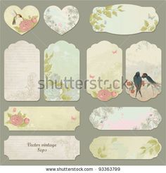 Set of vector vintage cards with birds, butterflies and flowers by Nikiparonak, via ShutterStock Vintage Birds, Vintage Tags, Vintage Labels, Scrapbook Cards, Scrapbooking, Image Deco, Printable Labels, Free Printables, Journal Cards