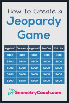 Excellent ways to create Jeopardy Games! Thank you!  How to create a Jeopardy game for math class.  http://geometrycoach.com/how-to-create-a-jeopardy-game/