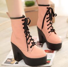 Women Ladies Punk Lace up Platform Motorcycle Chunky High Heel Ankle Boots Shoes #NEW #FashionAnkle