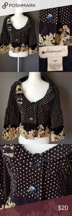 ANTHROPOLOGIE Elevenses Black Velvet & Gold Jacket Black and gold velvet jacket polka dot cropped blazer Anthropologie Jackets & Coats Blazers
