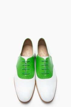 MR.HARE Green & White Leather Jerry Lee Oxfords