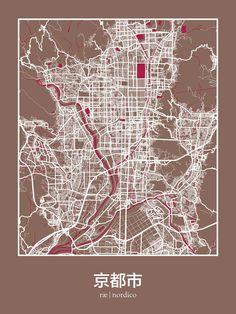 Kyoto, Japan Map Print