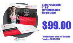 """Buy 5,000 postcards 4"""" x 6"""" (Popular size) for only $99.00 -- Single-use per customer coupon -Expires 02/08/2021 at 11:59 pm - Includes full color on Front (4/0) (you may select full color on both sides and keep the same discount amount) - Premium 14pt thick paper - Shipping and taxes not included Discount will apply to any order of cheap postcards printing over 5,000 units in printing for the 4"""" x 6"""" size. Cheap Printing Services, Cheap Sticker Printing, Cheap Postcards, Different Types Of Colours, Catalog Printing, Color Copies, People Names, Postcard Printing, Tent Cards"""