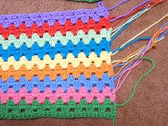 Easy Crochet Pattern: Granny Stripe Afghan Tutorial. This pattern is worked in multiples of 3