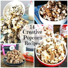We love popcorn! I especially love all of the seasonings and things that you can do to popcorn to make it taste different.  Check out some of these really fun popcorn recipes.