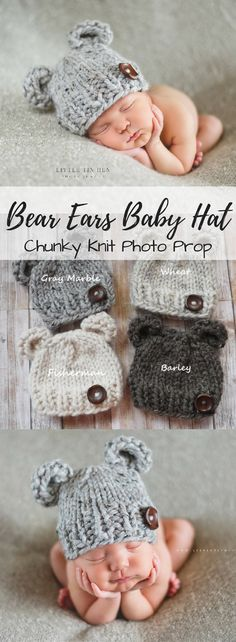 Chunky knit bear ears baby hat photo prop. What a sweet little beanie for newborn pictures! Love it... so cute!!! #etsy #ad