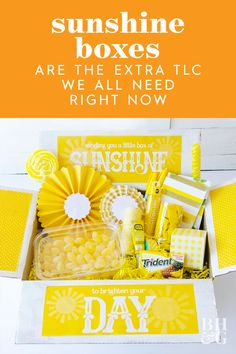 "There are currently more than 1,600 posts tagged #sunshinebox on Instagram, and Google searches for ""sunshine boxes"" have risen 400% in the last month, so it looks like I'm not the only one excited to make one. #sunshinebox #quarantinegifts #diygifts #bhg Small Gift Boxes, Small Gifts, 21st Gifts, Diy Gifts, Box Of Sunshine, Small Acts Of Kindness, New Business Ideas, Yellow Paper, Little Boxes"