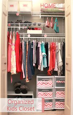 Organized Little Girls Closet Utilizing Space With 2 Rows To Hang Clothes Since Are So Small