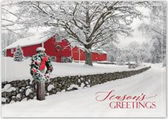 Rustic Ranch Christmas Cards. • Select from a variety of greetings in English or Spanish • Up to 5 lines of personal greeting available for inside imprint • Folding service available. Call office for details • Card Size: 7 7/8 x 5 5/8 • 35 Characters per imprint line • Standard Verse: Greetings of the season and best wishes for the New Year.