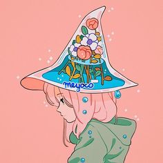 art illustration kawaii Witch's hat Arte Do Kawaii, Kawaii Art, Kunst Inspo, Art Inspo, Art And Illustration, Pretty Art, Cute Art, Anime Kunst, Anime Art