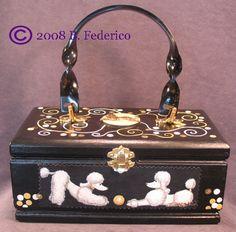 Hand pt'd Poodle Cigar Box Purse by B. Federico