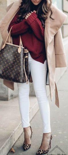 #winter #fashion / burgundy knit + beige coat