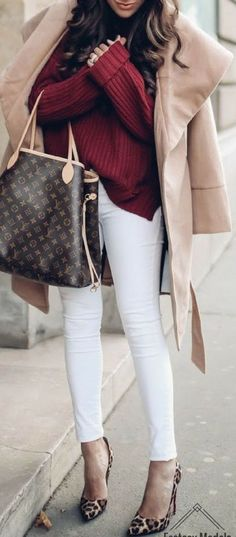 #winter #fashion / burgundy knit + beige coat