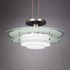 Design by W.H. Gispen, Giso model 305, 1 9 3 6, glass and metal ceiling lamp. manufacturer Gispen.