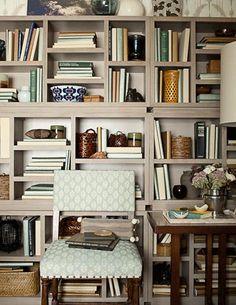 Lessons in Design :: Bookshelf Styling - Fieldstone Hill Design Bookshelf Storage, Open Bookcase, Bookshelf Styling, Grey Bookshelves, Bookshelf Decorating, Bookshelf Wall, Library Shelves, Bookshelf Design, Book Storage