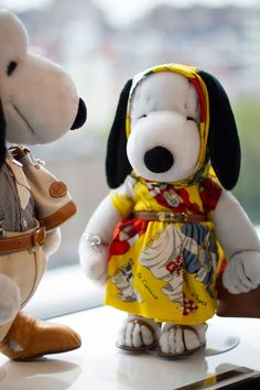 Snoopy and Belle in Fashion - Wearing Hermes