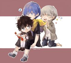 Minato is the oldest because he came first out of all of them. Akira is the youngest cause his game is new. Anime Chibi, Anime Art, Akira Kurusu, Shin Megami Tensei, Persona 4, Final Fantasy Xv, Cute Images, Super Smash Bros