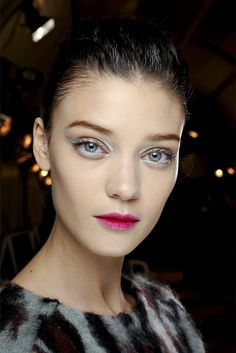 Makeup at Christian Dior f/w 2013. Poor lady, she looks like she's ill and anemic :(