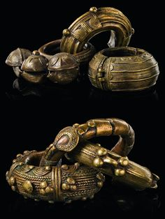 West Africa   Collection of six brass alloy bracelets from Burkina Faso and the Ivory Coast