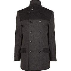Grey two tone wool smart coat - coats - coats / jackets - men