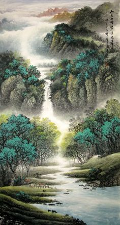 Chinese Painting: Mountains, waterfall, trees - Chinese Painting CNAG221544 - Artisoo.com