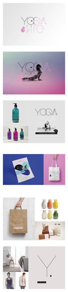 Yoga & Life, coach sportif, Annecy, visual identity, clothes, cosmetic, flyer & smoothies.