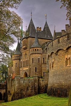 Marienburg Castle is a Gothic revival castle in Lower Saxony, Germany. It is located 15 kilometres (9.3 mi) north-west of Hildesheim, and around 20 kilometres (12 mi) south of Hanover, in the municipality of Pattensen, Hanover. It was a summer residence of the House of Guelph. It was once given as a birthday present by King George V of Hanover (reigned 1851–1866) to his wife, Marie of Saxe-Altenburg.