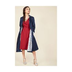 A Prominent Polish Trench ($150) ❤ liked on Polyvore featuring outerwear, coats, apparel, trench coat, varies, shiny trench coat, navy blue coat, a line trench coat and winter white trench coat