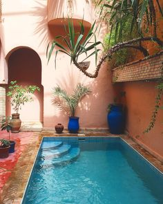 outdoor oasis backyard with pool ~ outdoor oasis backyard . outdoor oasis backyard with pool . outdoor oasis backyard on a budget Small Backyard Pools, Small Pools, Oasis Backyard, Outdoor Spaces, Outdoor Living, Outdoor Decor, Riad Marrakech, Courtyard Pool, Small Pool Design