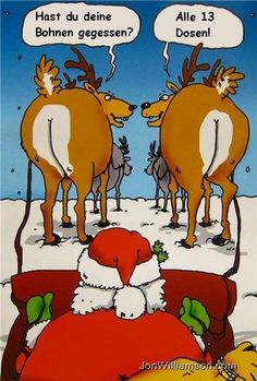 Christmas Humor: The reindeer are ready for flight, but is Santa? - This isn't The Far Side, but here's a little holiday humor for all of you. Funny Christmas Jokes, Funny Christmas Pictures, Funny Pictures, Funny Xmas Quotes, Merry Christmas Funny, Christmas Images, Funny Images, Bing Images, Funny Cartoons