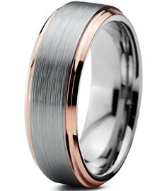 Greenpod 6mm Tungsten Wedding Rings with Box Comfort Fit Domed Brushed Rose Gold Size 4-14
