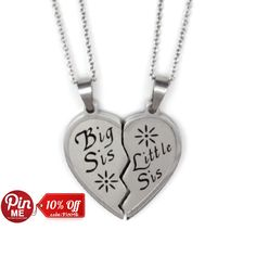 Sister+Necklace+Big+Sis+&+Lil+Sis+Heart+Necklaces+Set+by+Tzaro,+$24.85
