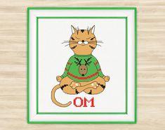 Yoga cat OM Cross Stitch Pattern PDF meditation by TimeForStitch