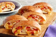 Cheesy Turkey Stromboli.  Family approved.  This was easy and very tasty.  I made one with classic pizza dough and one with thin crust dough...each different and very good.  I left out the red peppers and didn't miss them at all.