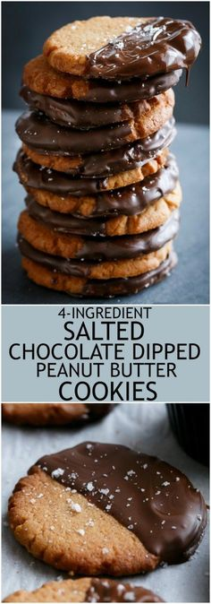 4 ingredient Salted Chocolate Dipped Peanut Butter Cookies! 50 seconds to mix, 10 minutes to bake and 2 minutes to eat a whole tray full! | http://cafedelites.com