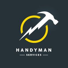 Concept handyman services logo with white abstract hammer flash tool in yellow circle icon on dark cool grey background. Handyman Logo, Hammer Logo, Dental Shirts, Service Logo, Construction Logo, Graphic Design Tutorials, Letter Logo, Design Reference, Adobe