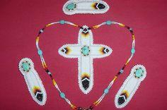 "Beaded ""Eagle Feather"" cross set. Necklace, earrings, barret."