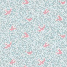 Larksong Powder Blue / Pink wallpaper by Sanderson