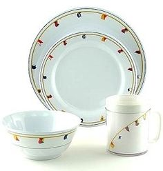 Elegant plastic dinnerware, non-breakable plates, nautical theme ...
