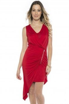 Ruched dress with side zip