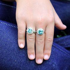 Flower Girl Ring Gift Aqua Blue Swarovski Crystal Adjustable