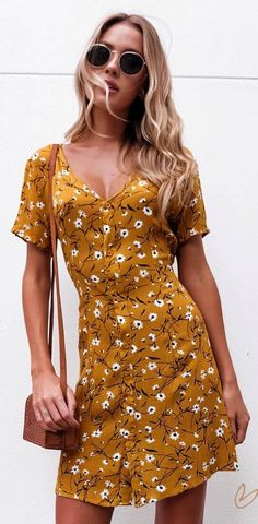 #spring #outfits Mustard Floral Dress + Camel Leather Shoulder Bag