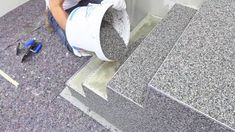Amazing creative construction worker You need to see. Install natural stone flooring for stairs designs. quick-mix - www. Stairs Tiles Design, Tile Design, Logo Design, Flooring For Stairs, Natural Stone Flooring, Modern Stairs, Concrete Patio, Concrete Staining, Concrete Driveways