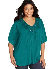 NY Collection Plus Size Top, Butterfly Sleeve Embellished V-Neck - Plus Size Tops - Plus Sizes - Macy's