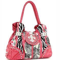 Animal Print Rhinestone Fleur De Lis Satchel Handbag Purse Pink. Free Shipping. @RTPintrest #Handbags