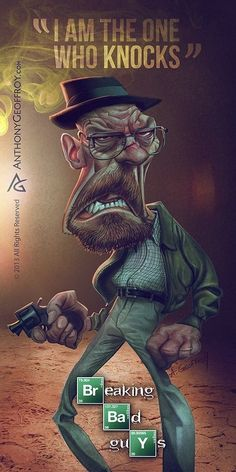 Caricatures of Breaking Bad Characters by Anthony Geoffroy - Vincent M. Allora - - Caricatures of Breaking Bad Characters by Anthony Geoffroy - Vincent M. Breaking Bad Arte, Affiche Breaking Bad, Serie Breaking Bad, Walter White, Arte Dope, Dark Images, Illustration, Great Tv Shows, Cultura Pop